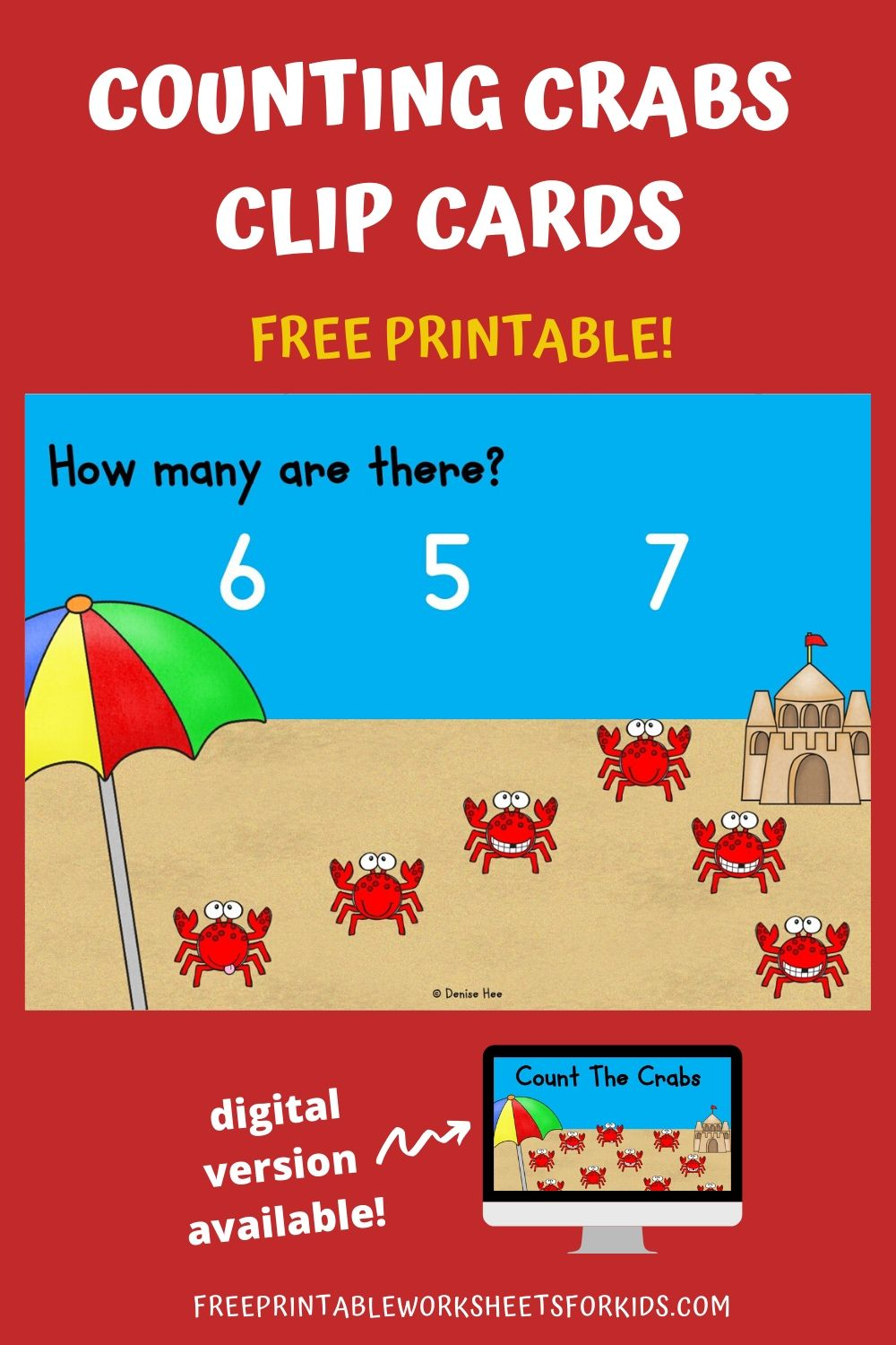 Count The Crabs 1-10 | Free Printable Worksheets For Kids | Preschoolers will love counting these adorable crabs walking across the beach. Are you ready for some summer fun? This printable set of counting clip cards will certainly get you in the mood for all the sunshine and beach fun. Other Printable Animal Centers and Worksheets Counting Colorful Bugs - Learn color words and counting in this fun book for beginner readers. Frog Life Cycle - 3 activities included in this pack perfect for Springtime. Frog Number Hop Game - Add and subtract as kids race to the pond. Bumblebee Addition Game - Solve the sum so the bee lands on the correct flower. Animal Alphabet Mazes - Work on letter recognition with these 26 mazes. Counting Clip Cards Setup For this activity you will need: Paper Printer Wooden pegs or clothespins Optional: laminator If you don't have the materials needed, don't sweat! You can get it delivered to your doorstep really quickly with Amazon Prime. You can get a 30-day free trial here.  Playing This Fun Counting Game Print out the pages and cut them as needed into individual clip cards. I would suggest laminating them so you can use them again and again. Lay out the cards with some wooden pegs and that's it! Your kids are now ready for some fun math :) Additionally, you could provide some small tokens or counters that your student can use to help them count. They can place a counter over each worm to avoid counting them twice by mistake and to reinforce one to one correspondence. I have a large collection of Spring and Summer Counting Clip Cards. You can find more to complement this activity here. Pair Up This Summer Themed Math Activity Looking for more printable math and literacy activities for Summer? Check out my pack of 10 Ice Cream Themed Centers here. Looking for digital task cards? If you're using digital task cards in your classroom, you can find the Boom Cards version of this game in my Boom Learning shop (under Kool Kids Games) or in my Teachers Pay Teachers store.