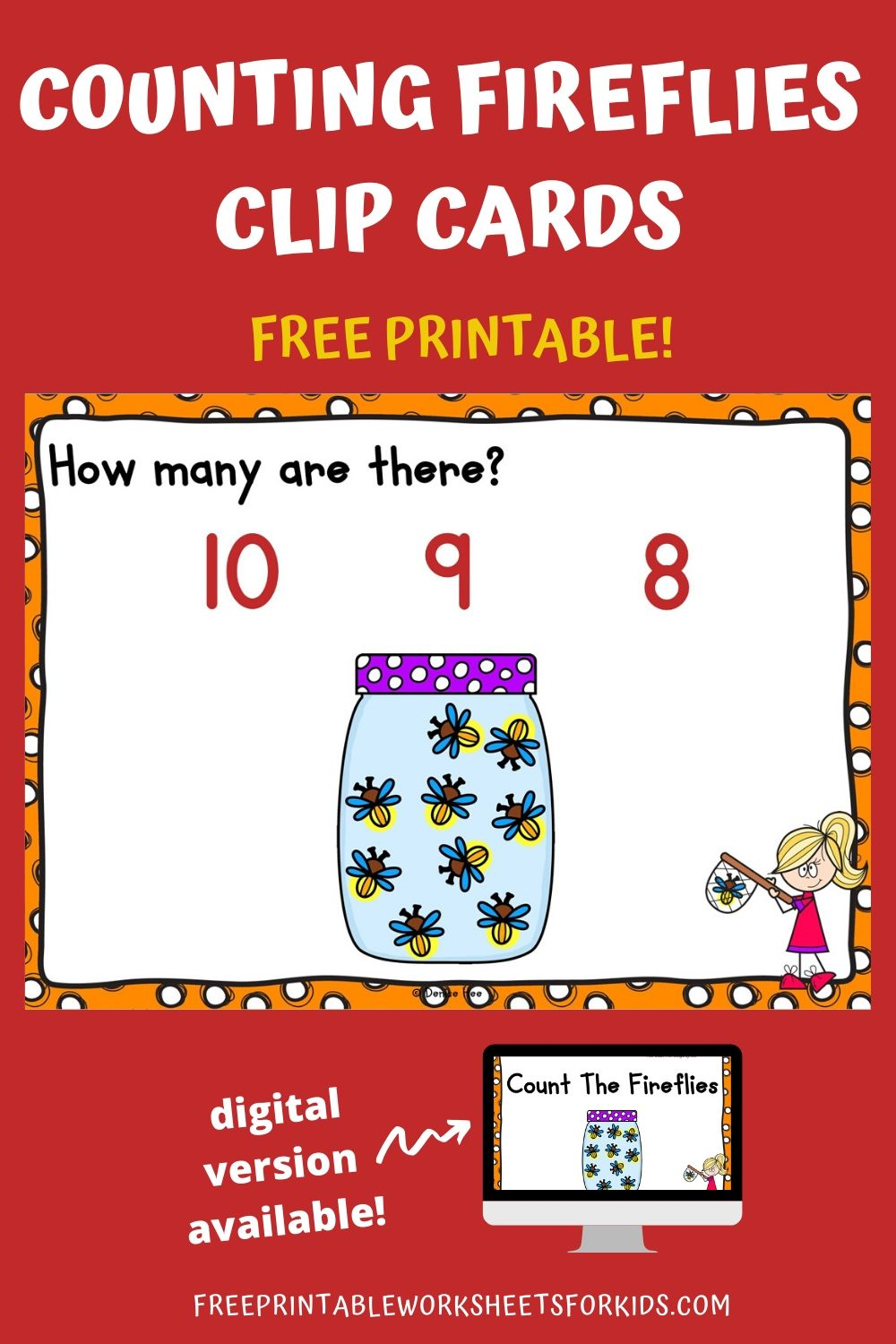 Count The Fireflies 1-10 | Free Printable Worksheets For Kids | This set of counting clip cards will light up your child's day! Count up to 10 fireflies caught in the jar. It's a perfect math and fine motor combination game for spring or summer.