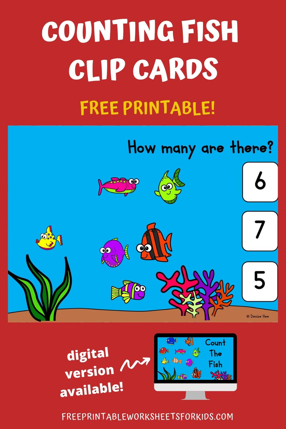 Count The Fish 1-10 | Free Printable Worksheets For Kids | Dive into the ocean and count how many colorful fish you can see! Kids will love clipping the correct answer and they will be so good at counting to 10 by the end of this game. This set of clip cards is perfect for summertime.