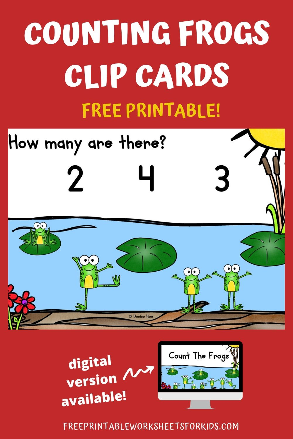 Count The Frogs 1-10 | Free Printable Worksheets For Kids | Kids will have a hopping good time playing with this adorable set of counting clip cards. Practice math while working on fine motor strength as your child counts how many frogs are by the pond. Other Printable Spring Centers and Worksheets Spring Printable Worksheets Pack- 50 pages of print and play worksheets. Spring Code Words - Solve the codes to learn some Spring vocabulary words. Bumblebee Addition Game - Solve the sum to find out which flower the bee should land on. Counting Clip Cards Setup For this activity you will need: Paper Printer Wooden pegs or clothespins Optional: laminator If you don't have the materials needed, don't sweat! You can get it delivered to your doorstep really quickly with Amazon Prime. You can get a 30-day free trial here.  Playing This Fun Counting Game Print out the pages and cut them as needed into individual clip cards. I would suggest laminating them so you can use them again and again. Lay out the cards with some wooden pegs and that's it! Your kids are now ready for some fun math :) Additionally, you could provide some small tokens or counters that your student can use to help them count. They can place a counter over each worm to avoid counting them twice by mistake and to reinforce one to one correspondence. I have a large collection of Spring and Summer Counting Clip Cards. You can find more to complement this activity here. Pair Up This Spring Themed Math Activity For more printable games or if you're looking to build up your lesson plans for Spring, check out my 10 Bugs and Butterflies Themed Literacy and Math Centers. Looking for digital task cards? If you're using digital task cards in your classroom, you can find the Boom Cards version of this game in my Boom Learning shop (under Kool Kids Games) or in my Teachers Pay Teachers store.