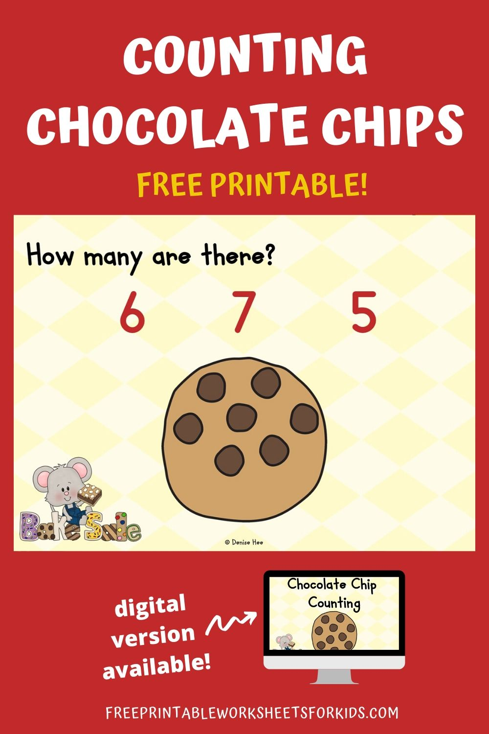 Count The Chocolate Chips 1-10 | Free Printable Worksheets For Kids | Kids will love this deliciously fun counting game! Count out the chocolate chips from 1-10 and clip a wooden peg on the correct answer. This printable game works on both math and fine motor skills. Other Printable Food-Themed Centers and Worksheets Fruit and Vegetable Activity Pack - 5 activities in this pack including shadow matching, bingo, etc. Watermelon Number Puzzles - Work on number recognition and subitizing in this summer-themed game. Farmers Market Activity Pack - helps kids learn about eating a rainbow of healthy foods. Counting Clip Cards Setup For this activity you will need: Paper Printer Wooden pegs or clothespins Optional: laminator If you don't have the materials needed, don't sweat! You can get it delivered to your doorstep really quickly with Amazon Prime. You can get a 30-day free trial here.  Playing This Fun Counting Game Print out the pages and cut them as needed into individual clip cards. I would suggest laminating them so you can use them again and again. Lay out the cards with some wooden pegs and that's it! Your kids are now ready for some fun math :) Additionally, you could provide some small tokens or counters that your student can use to help them count. They can place a counter over each worm to avoid counting them twice by mistake and to reinforce one to one correspondence. I have a large collection of Spring and Summer Counting Clip Cards. You can find more to complement this activity here. Pair Up This Food Themed Math Activity Looking for more food themed printable math and literacy activities? Check out my pack of 10 Fruit and Vegetables Themed Centers here. Looking for more printable math and literacy activities for Summer? Check out my pack of 10 Ice Cream Themed Centers here. Looking for digital task cards? If you're using digital task cards in your classroom, you can find the Boom Cards version of this game in my Boom Learning shop (under Kool Kids Games) or in my Teachers Pay Teachers store.