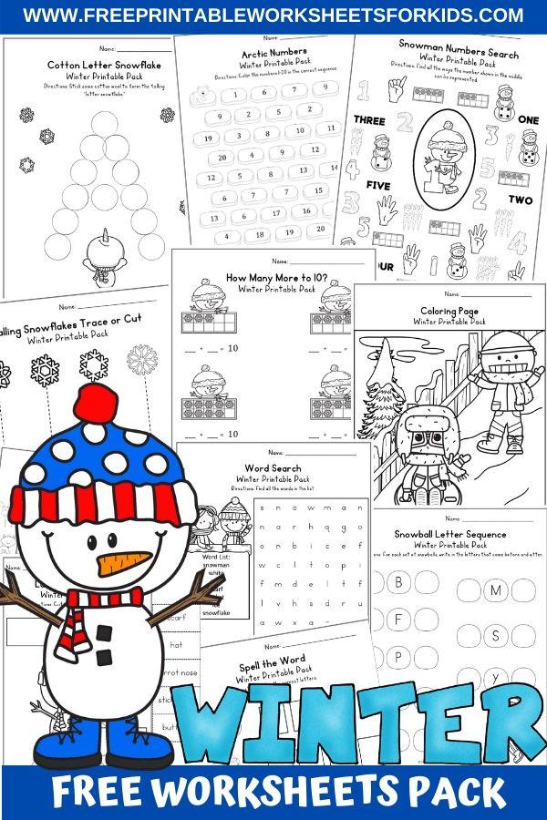 Fun Winter Printables for Preschool and Kindergarten | Snow Themed Number Games | Hands On Literacy Homeschool Activities | Kids Classroom Center Ideas and Worksheets #FreePrintableWorksheetsForKids #winter #snowman #polar #january #packet