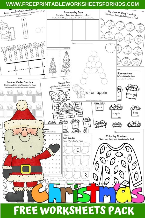 Fun Christmas Printables for Preschool and Kindergarten | Santa Themed Number Games | Hands On Literacy Homeschool Activities | Kids Classroom Center Ideas and Worksheets #FreePrintableWorksheetsForKids #christmas #december #santa #elf #stocking