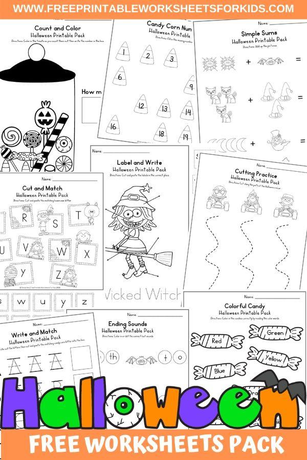 Fun Halloween Printables for Preschool and Kindergarten | Halloween Themed Number Games | Hands On Literacy Homeschool Activities | Kids Classroom Center Ideas and Worksheets #FreePrintableWorksheetsForKids #halloween #october #packet #witch #ghost