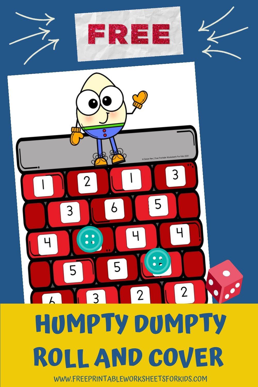 Fun Nursery Rhyme Printables for Preschool and Kindergarten | Humpty Dumpty Themed Number Games | Hands On Math Homeschool Activities | Kids Classroom Center Ideas and Worksheets #FreePrintableWorksheetsForKids #nurseryrhyme #song #humptydumpty #number #rollandcover