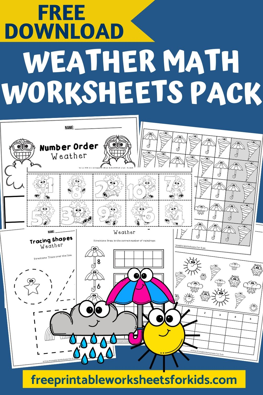 Fun Weather Printables for Preschool and Kindergarten   Weather-Themed Counting Games   Hands On Math Homeschool Activities   Kids Classroom Center Ideas and Worksheets #FreePrintableWorksheetsForKids #weather #snow #cloud #rain #sun #storm #count #number #pattern