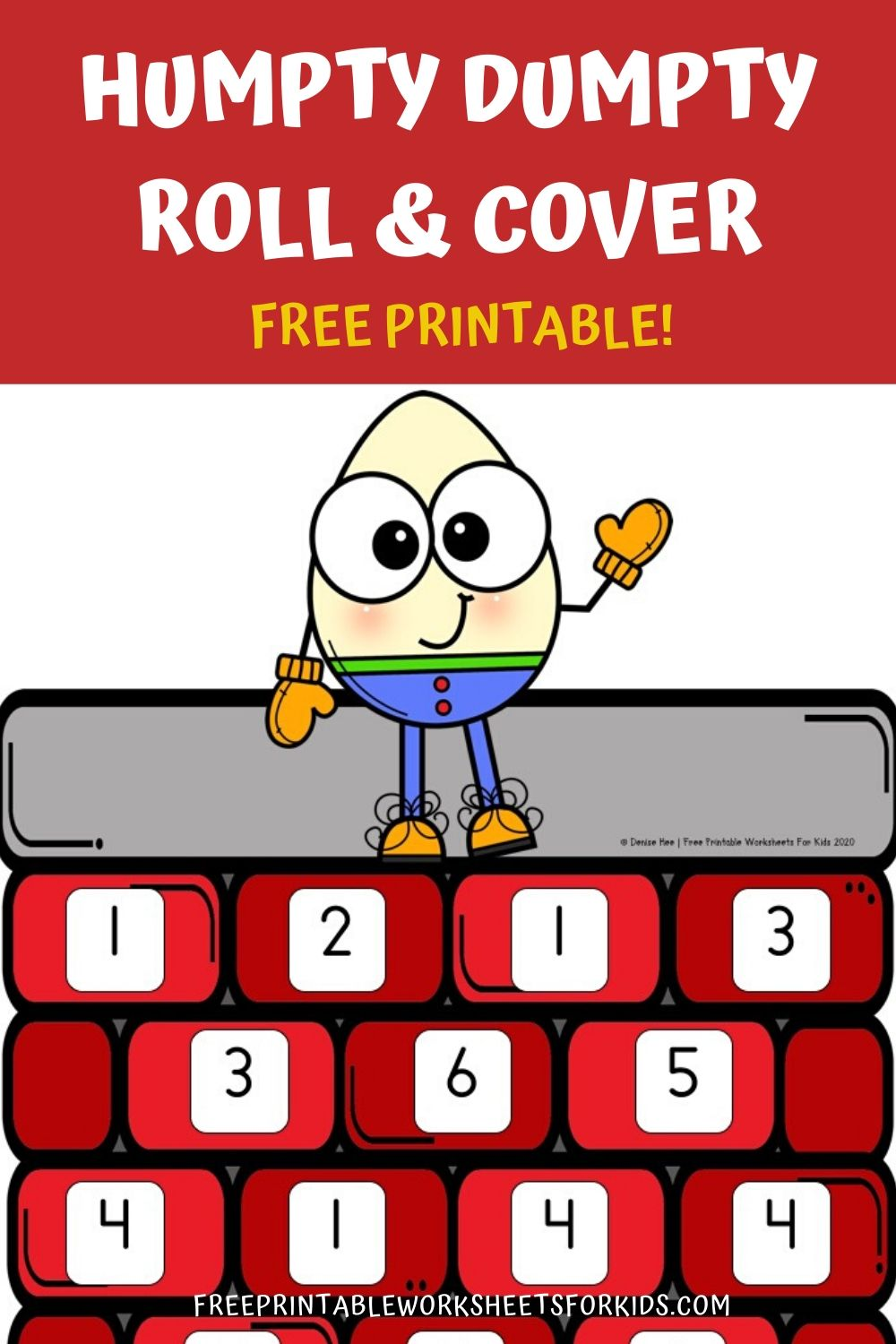Fun Nursery Rhyme Printables for Preschool and Kindergarten | Humpty Dumpty Themed Number Games | Hands On Math Homeschool Activities | Kids Classroom Center Ideas and Worksheets #FreePrintableWorksheetsForKids #nurseryrhyme #song #humptydumpty #number #rollandcover