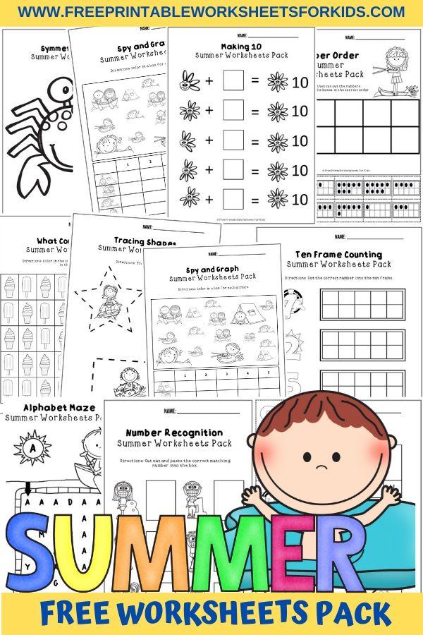 Fun Summer Printables for Preschool and Kindergarten   Summer Themed Games   Hands On Literacy and Math Homeschool Activities   Kids Classroom Center Ideas and Worksheets #FreePrintableWorksheetsForKids #summer #sun #beach