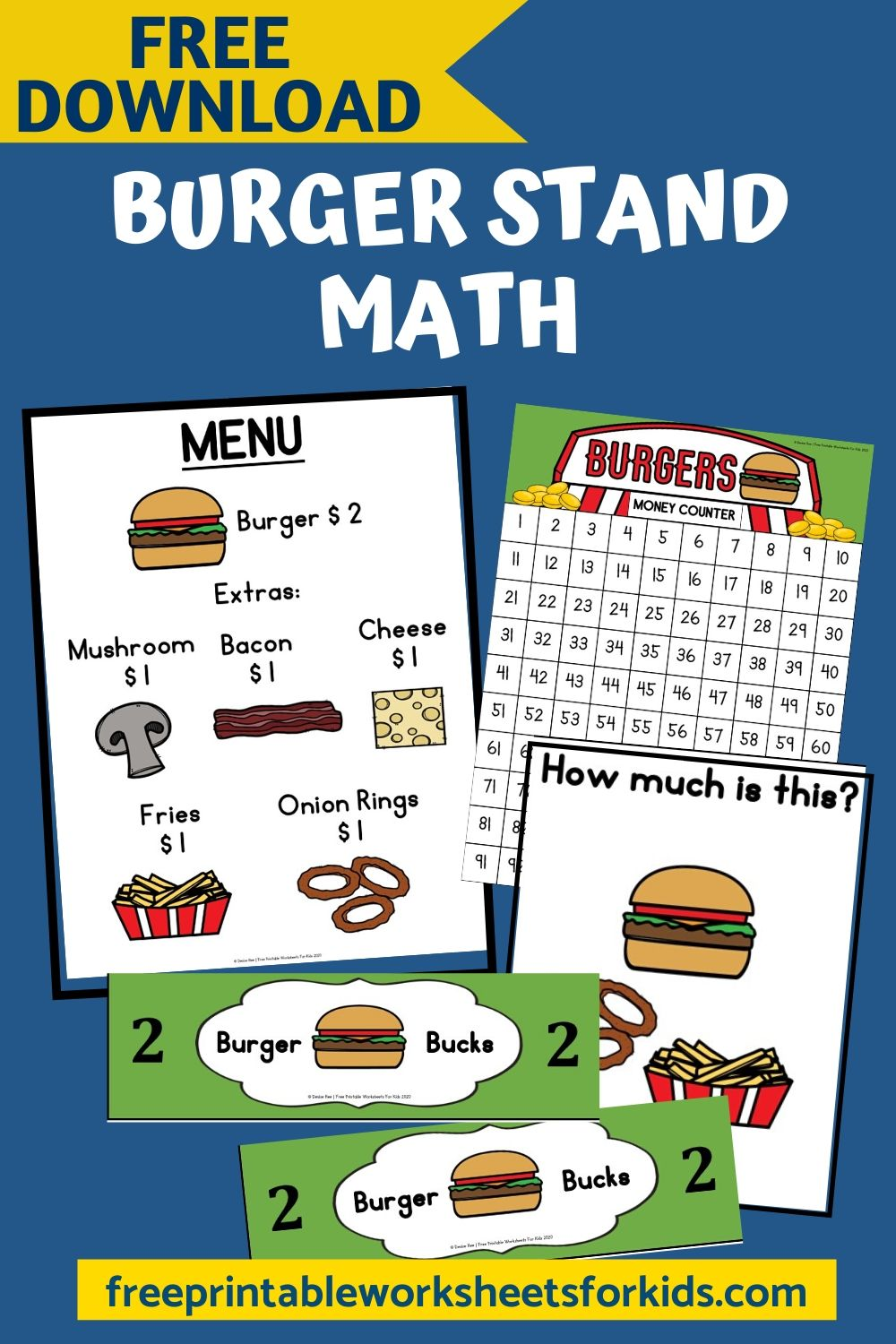 Fun Pretend Play Printables for Preschool and Kindergarten   Food Themed Counting Games   Hands On Addition Homeschool Activities   Kids Classroom Center Ideas and Worksheets #FreePrintableWorksheetsForKids #addition #count #burger #food #pretend