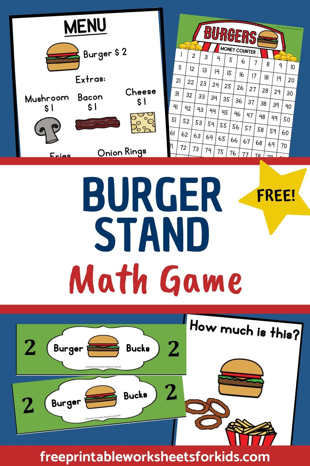 Fun Pretend Play Printables for Preschool and Kindergarten | Food Themed Counting Games | Hands On Addition Homeschool Activities | Kids Classroom Center Ideas and Worksheets #FreePrintableWorksheetsForKids #addition #count #burger #food #pretend