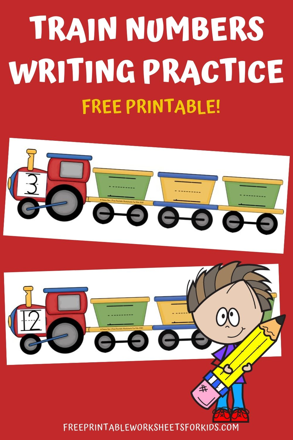 Fun Transportation Printables for Preschool and Kindergarten   Train Themed Number Writing Games   Hands On Math Homeschool Activities   Kids Classroom Center Ideas and Worksheets #FreePrintableWorksheetsForKids #train #transportation #number #writing