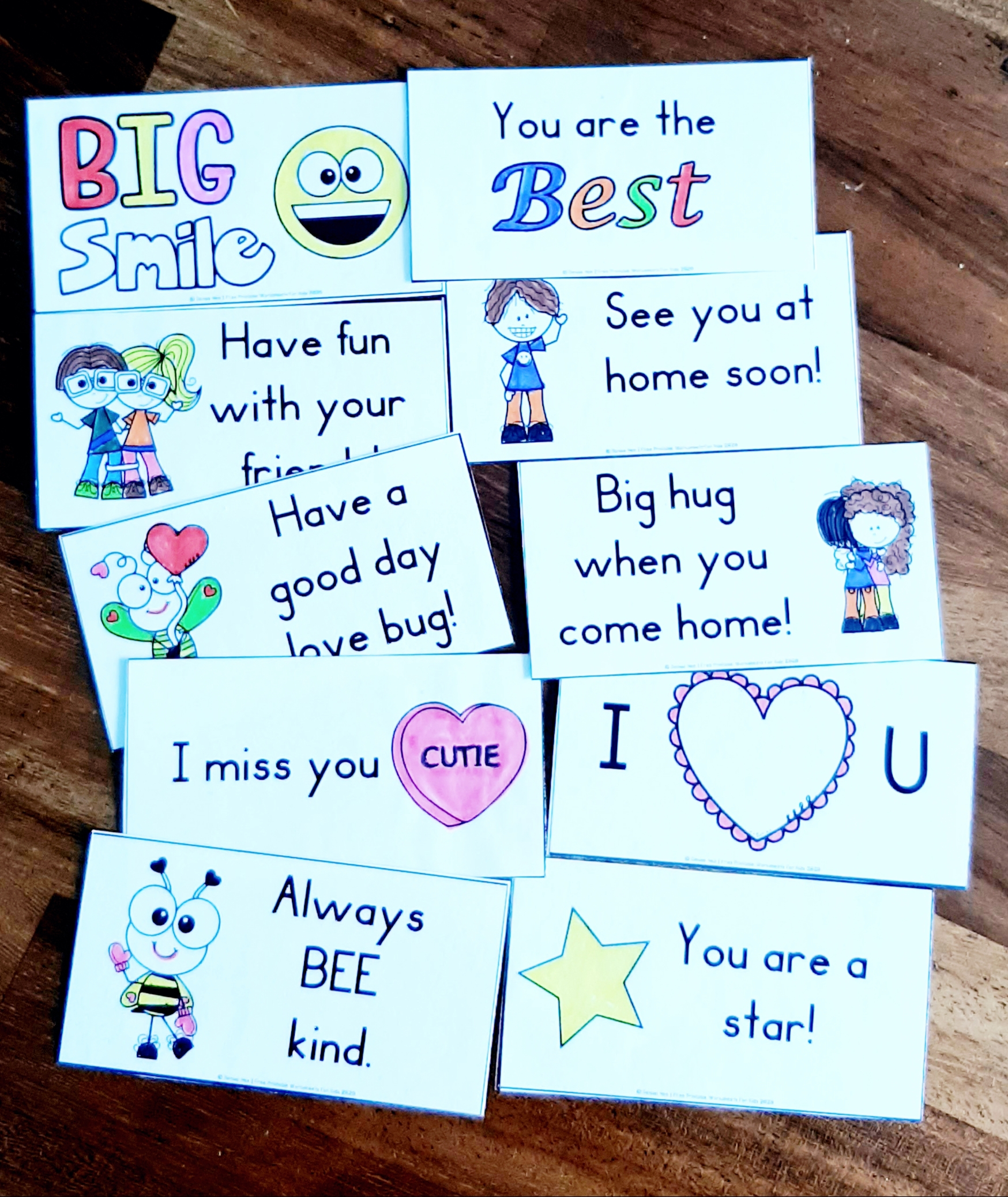 Back to School Printable Lunchbox Notes | Free Printable Worksheets For Kids | Get ready for back to school season this fall by printing out these 10 adorable lunchbox notes. Kids will love them and remember fond memories of their time in school when you send them off every morning with these.