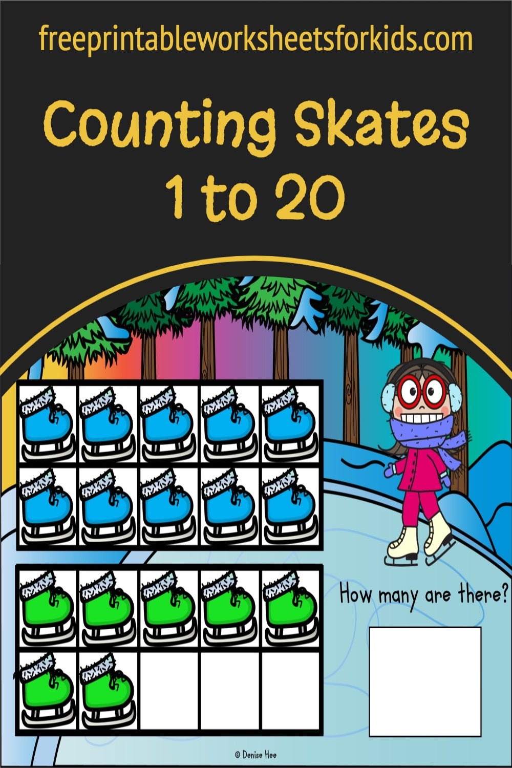 Kindergarten and 1st-grade students will work on counting to 20 and one to one correspondence in this free ice skating activity. Use this as a fun winter math center in your classroom or as a hands-on printable twenty frame game for your homeschool.