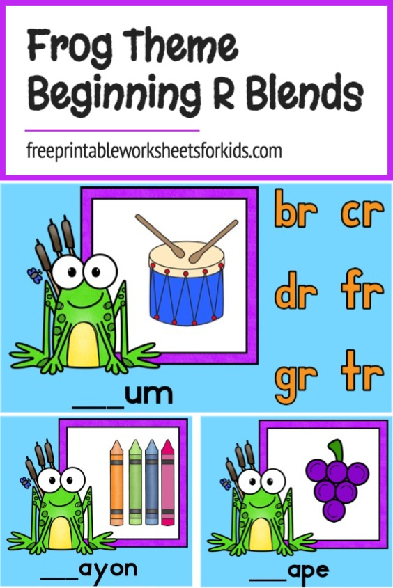 Are you teaching beginning R blends? Print out this free frog themed activity to practice some of the sounds in a fun way with your kindergarten and first grade students. This spring literacy center can be set up really quickly!