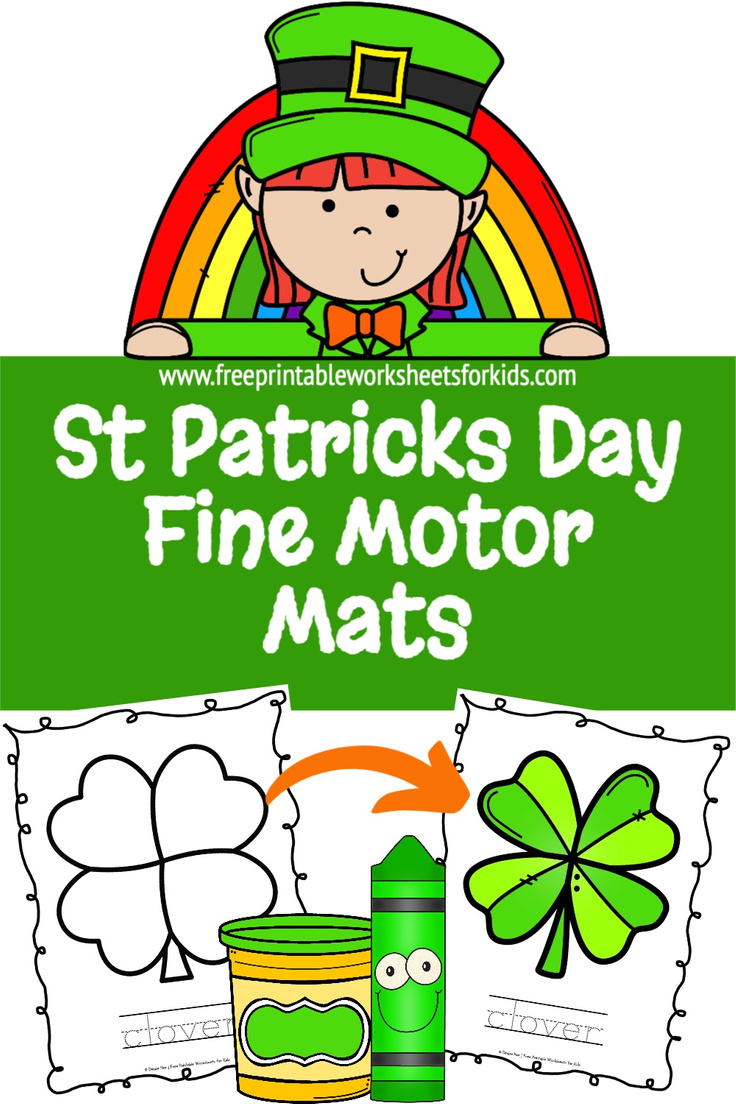 St Patricks Day is a big deal where we live so I designed these preschool fine motor mats. Your students can practice their playdough, coloring or any other crafty skills. This free printable worksheet can also be used for some kindergarten handwriting practice. Combine fine motor strengthening and literacy this March with this no prep activity!