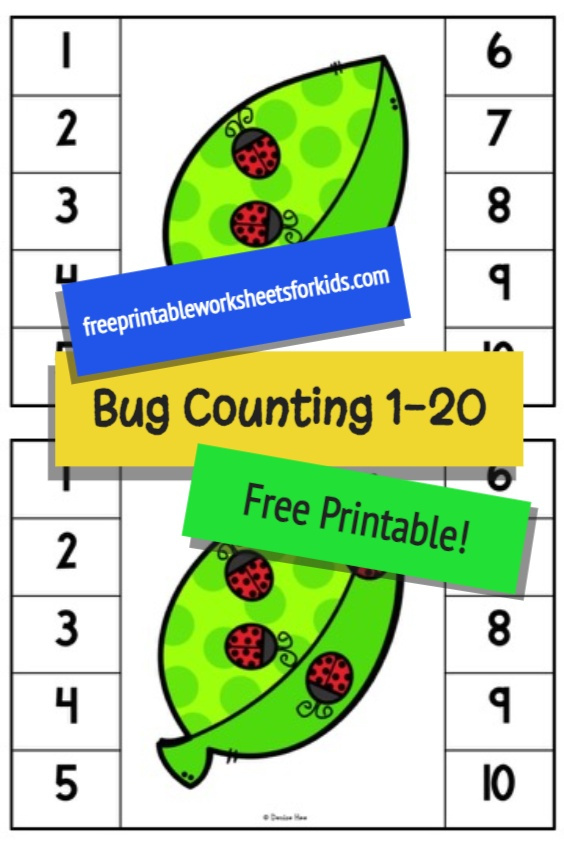 Preschoolers and kindergarteners will love counting the brightly colored ladybugs in this fun bug themed math center. Include this free printable in your insect learning unit to combine math and fine motor strengthening this Spring. Counting 1 to 20 will be so much fun!
