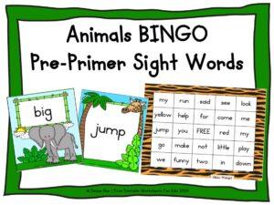 Zoo Animal Bingo (Pre-primer Sight Words)