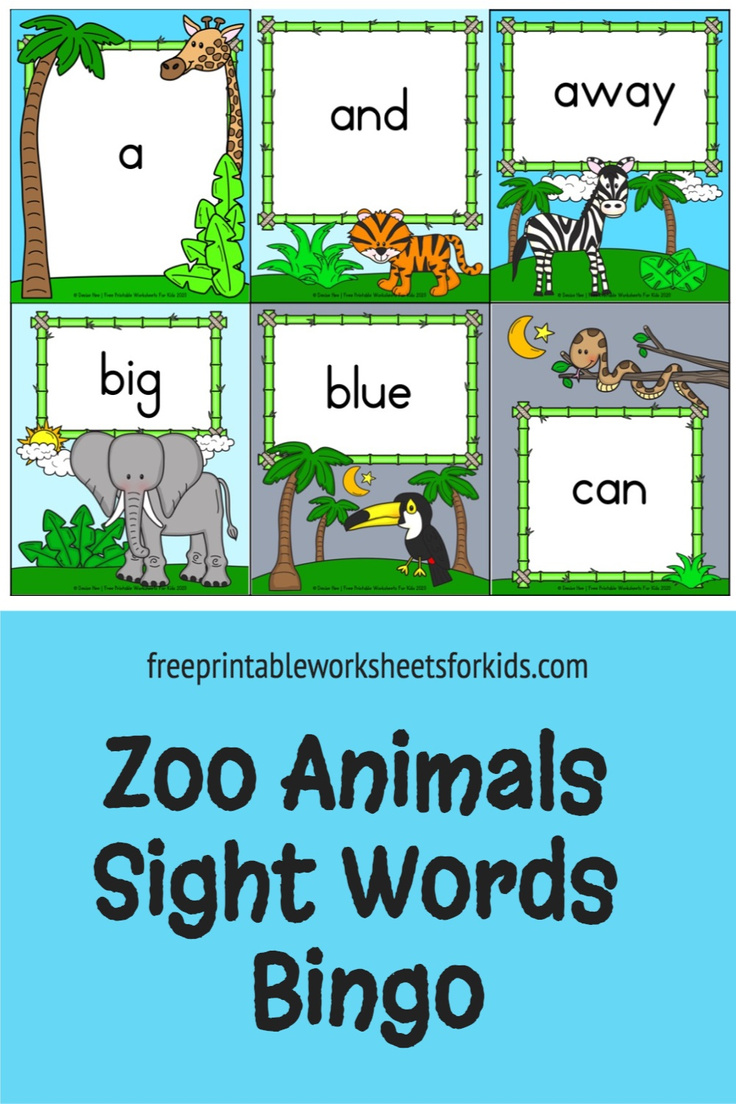 Preschool and kindergarten students will learn pre-primer Dolch sight words in this printable zoo animal bingo game. Use this as a small group literacy center in your classroom or as a hands-on sight word reading activity for your homeschooling kids.