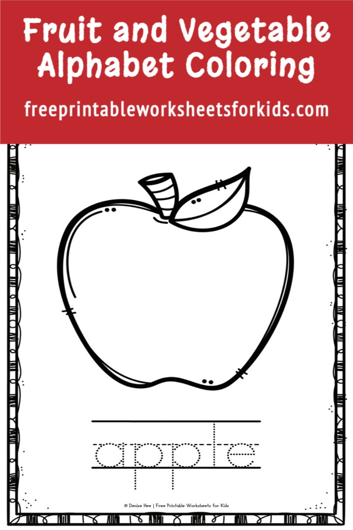 These alphabet coloring pages are great for learning fruit and vegetable vocabulary as well as getting in some handwriting practice. Keep this free printable handy and you've got a kindergarten literacy center you can set up in just minutes any time of the year!