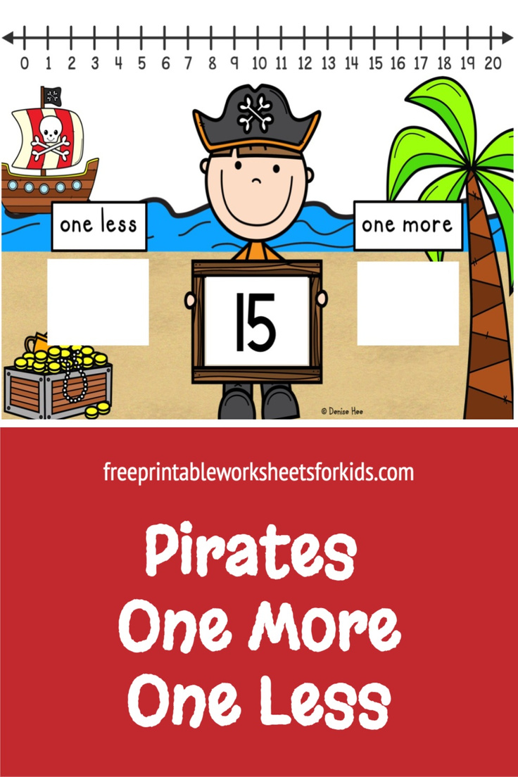 In this kindergarten pirate theme math center, students will use the number line to 20 to figure out one more and one less of the number shown. This free printable will help your students with both number order and number writing. It's perfect for some counting practice this summer!