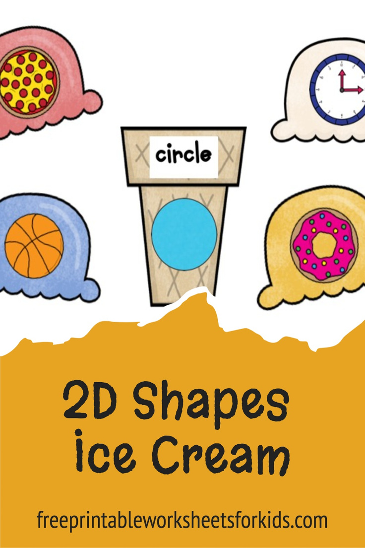 Your students will love this ice cream cones activity. In this preschool math center, they will do shape matching between the real-life 2d shapes on the scoops and the labeled cones. It's the perfect summer math printable!