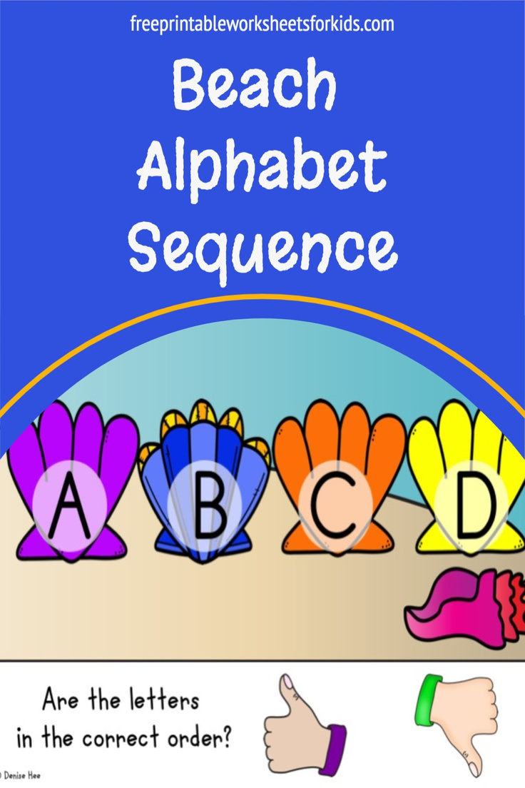 Students will love this new summer literacy center. Use this seashell theme printable to master alphabet order and sequencing. These simple task cards require just a thumbs up or down response and are perfect for your preschool or kindergarten kids.