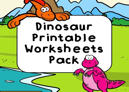 Fun Dinosaur Printables for Preschool and Kindergarten | Dinosaur Themed Games | Hands On Math and Literacy Homeschool Activities | Kids Classroom Center Ideas and Worksheets #FreePrintableWorksheetsForKids #Dinosaur #Worksheet #Pack