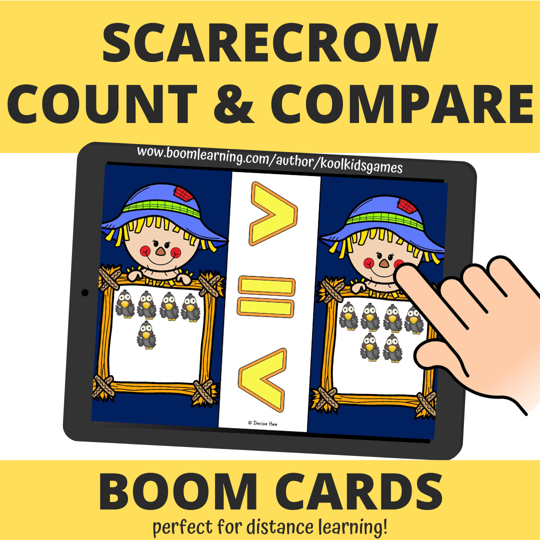 These scarecrow theme count and compare cards will be an instant hit in your classroom as students learn the skill of counting and comparing numbers and groups.