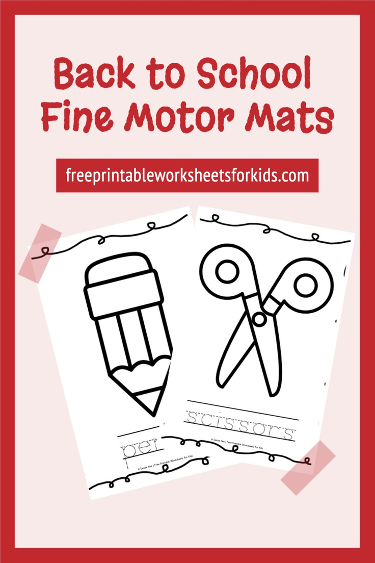 This fun free fine motor printable comes with ten common classroom objects, each with its name written in traceable letters underneath. It's essential that kindergarten students learn how to use their hands to manipulate small tools such as pencils and to perform precision tasks like cutting and modeling with playdough.