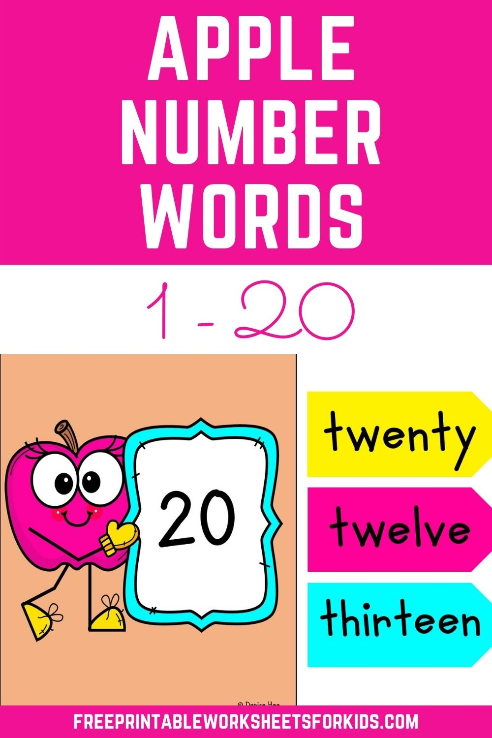 Apple Number Words to 20 Game