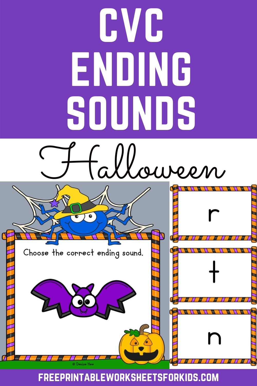 Halloween CVC Ending Sound Clip Cards