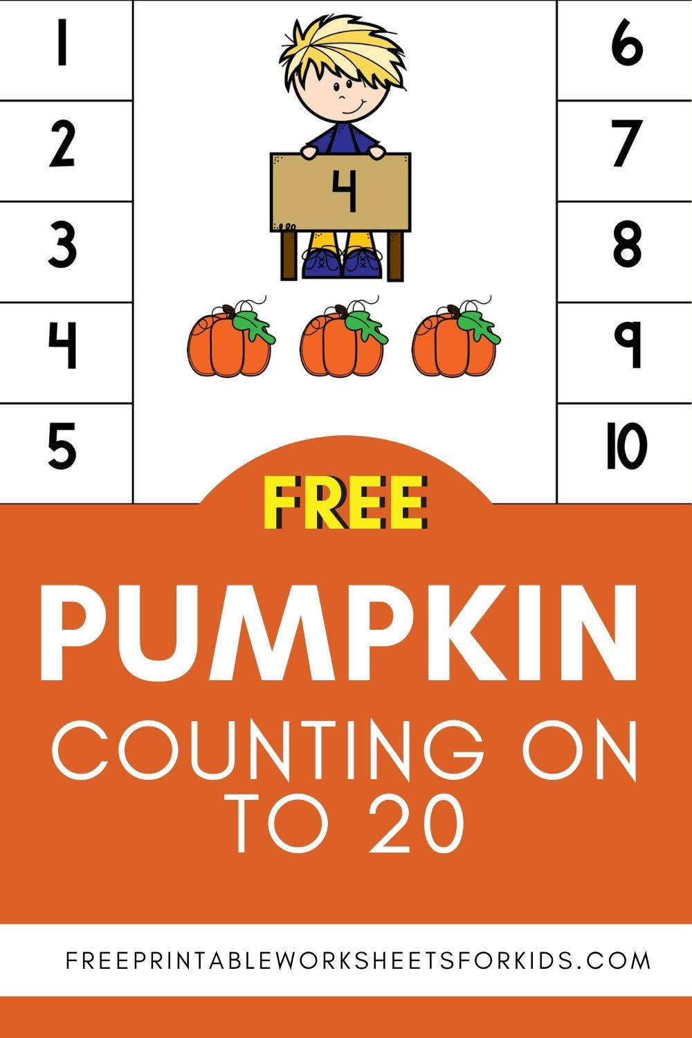 Counting On to 20 Pumpkin Math Clip Cards