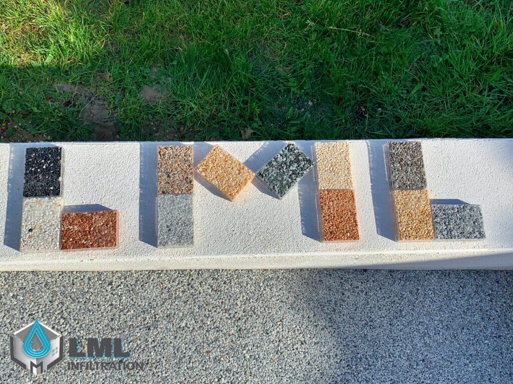 Échantillons granulat de marbre
