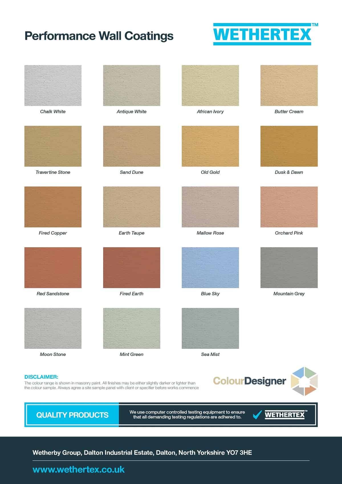 Wethertex MP44 exterior masonry coatings colour chart