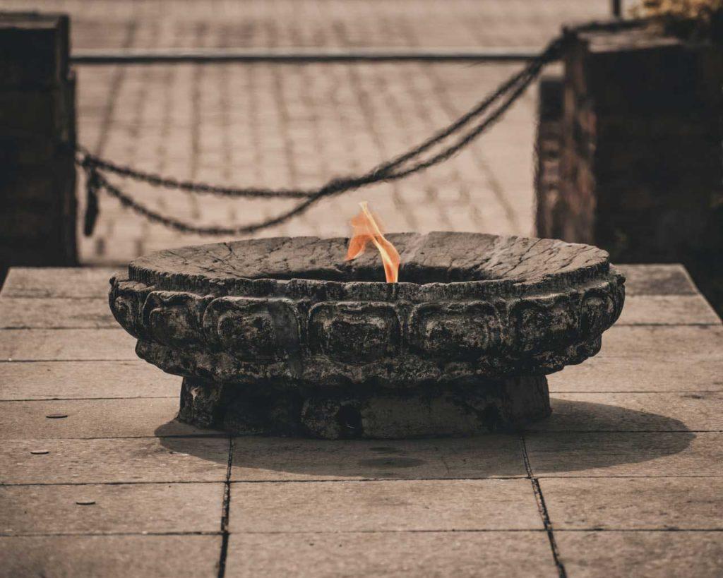 fire in lumbini
