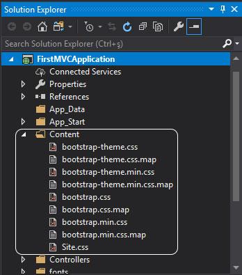 asp.net mvc Solution Explorer - content klasörü içeriği