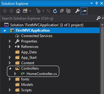 asp.net mvc solution explorer - controllers klasörü