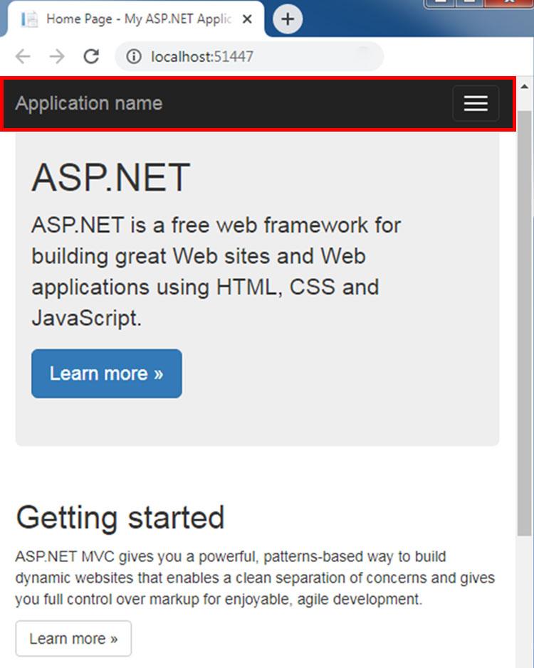 asp.net mvc projeyi çalıştırdıktan sonra tarayıcıının mobil cihazlarda oluşan görüntüsü