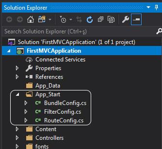 asp.net mvc solution explorer - app_start klasörü