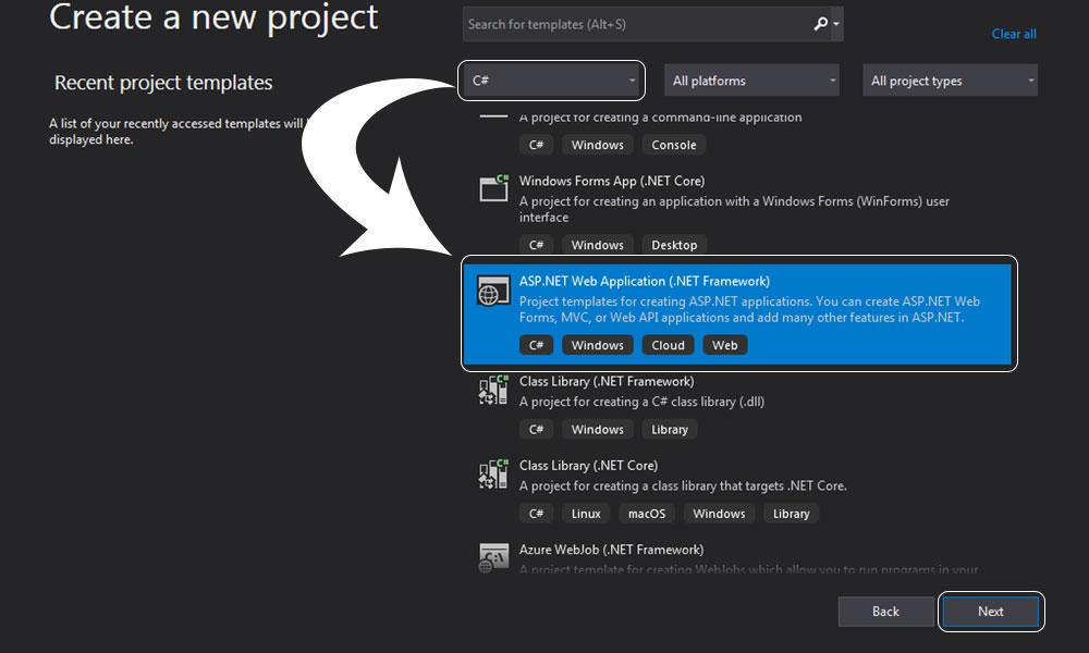 asp.net mvc projesini oluştururken asp.net web application(.net framework) kısmını seçip Next butonuna tıkladık.