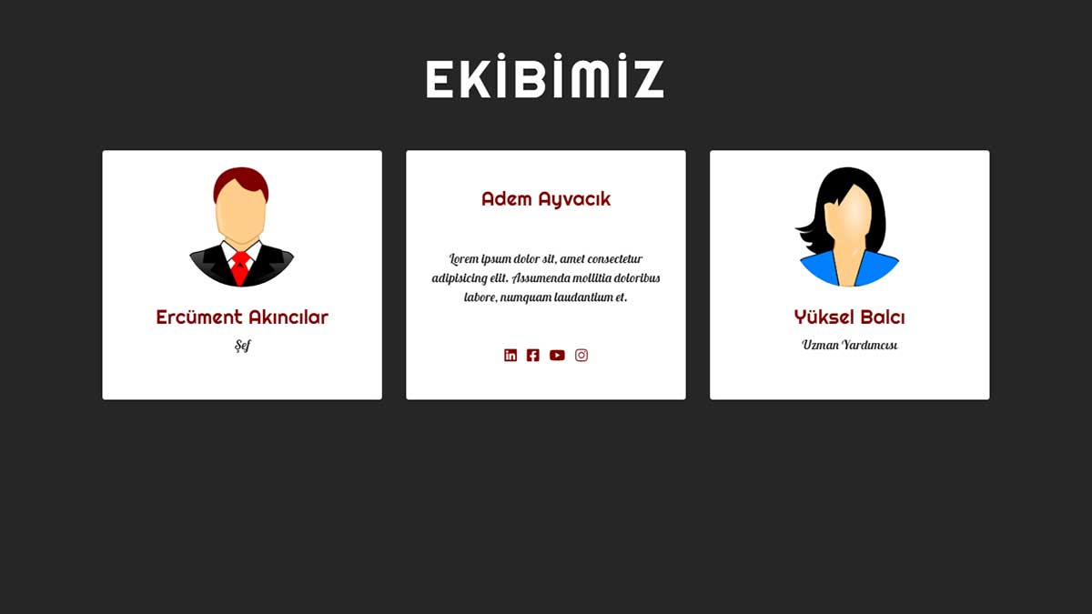 Bootstrap Kullanarak Kart Çevirme Efekti İle Ekibimiz Bölümü Tasarımı