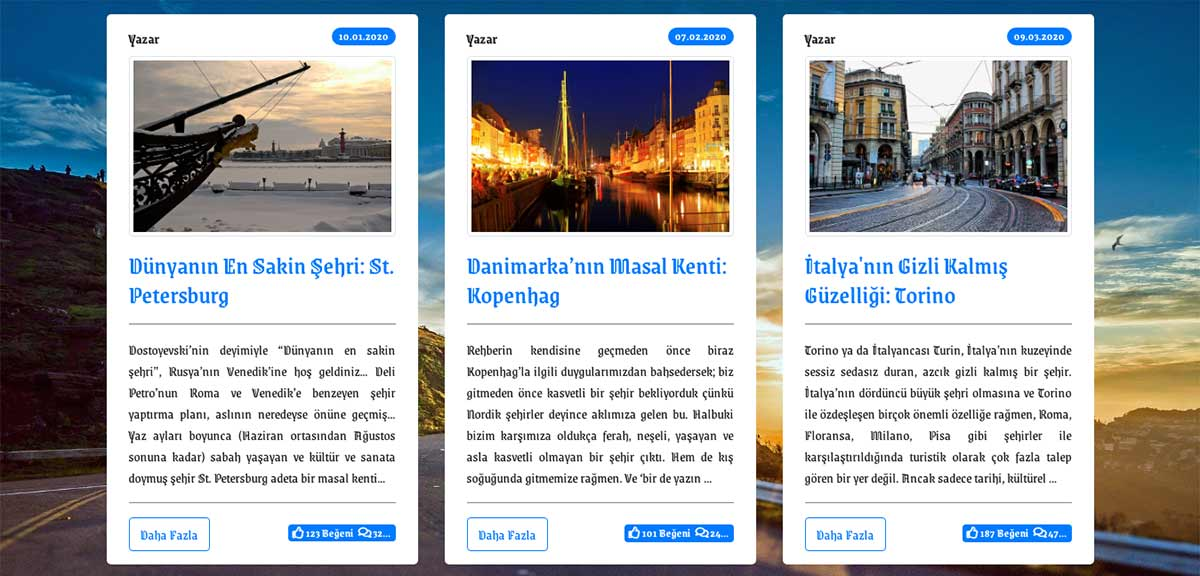 featured seyahat blog sitesi kart tasarımı