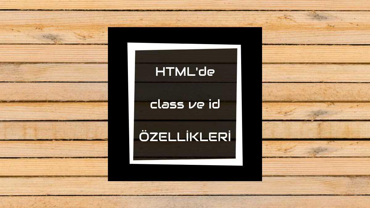htmlde class ve id özellikleri