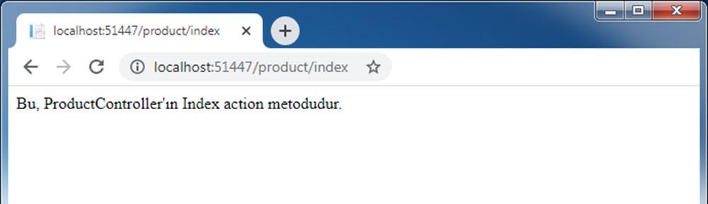 Uygulamayı çalıştırdıktan sonra http://localhost/product/index sayfasına ait tarayıcı görüntüsü