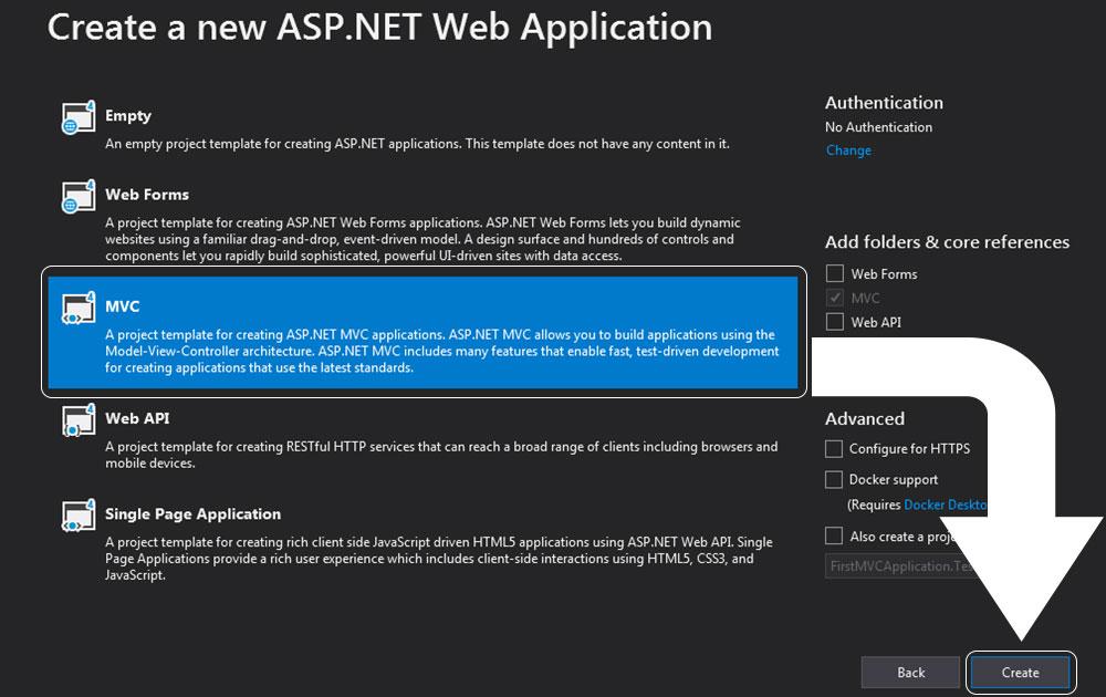create a new web application penceresinden MVC'yi seçtik.