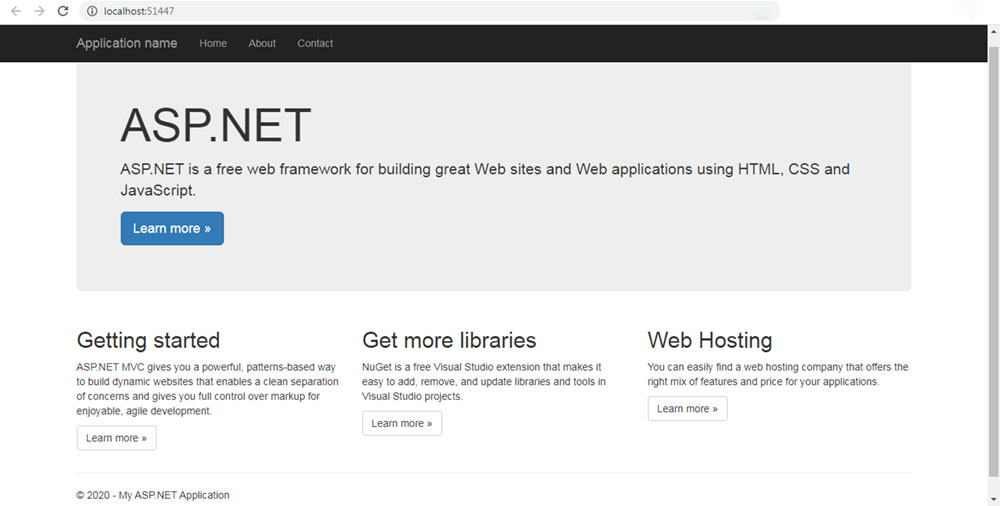 asp.net mvc uygulamasını çalıştırınca oluşan tarayıcı görüntüsü