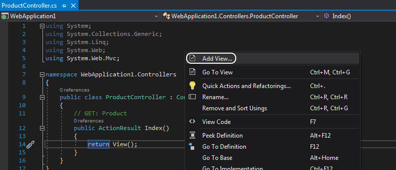 product controller index action metoduna sağ tıklayıp add view'i seçtik