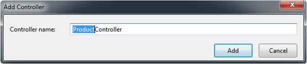 Add Controller Penceresi - ProductController adını controller name kısmına verdik.
