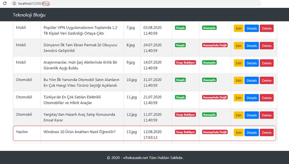asp.net mvc teknoloji bloğu - eklediğimiz bloğun Blog/Index sayfasında bulunan listenin en altına yerleştiğini gösteren resim