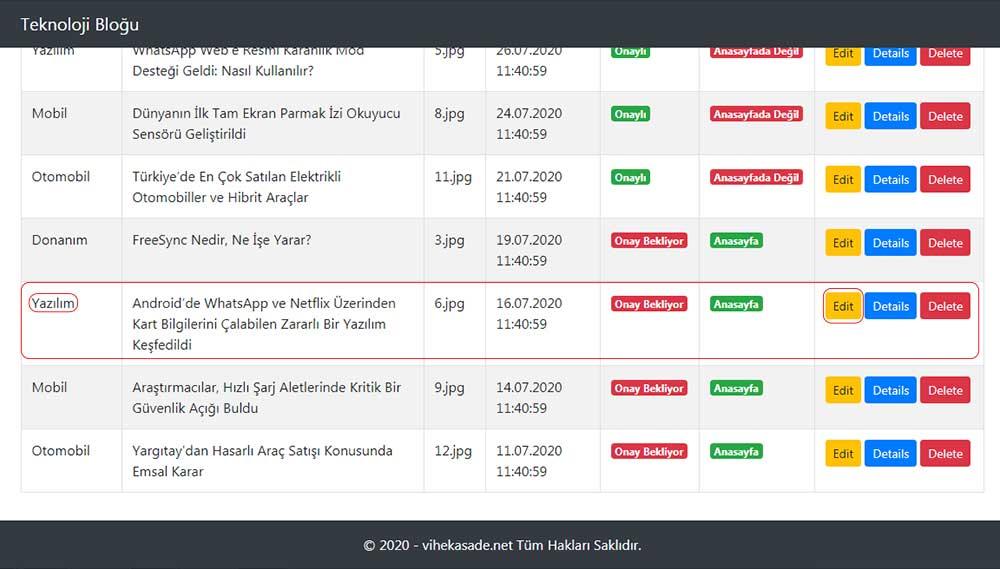 asp.net mvc teknoloji bloğu - güncellenmek istenilen bloğun /Blog/Index sayfasındaki görüntüsü